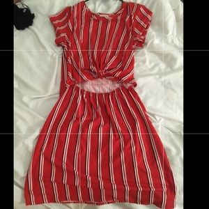 Red striped dress (looks like two piece)